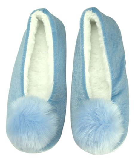 Women's Blue Pom Pom Slippers