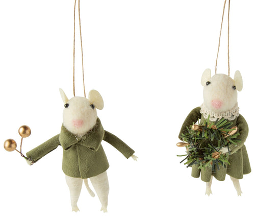 Felt Mouse Ornament- Cream with Green Velvet Clothes - Front & Company: Gift Store