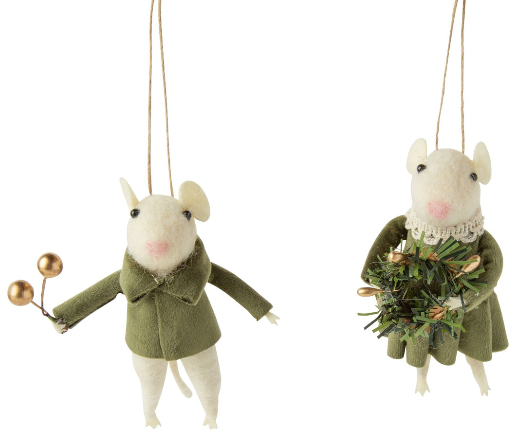 Felt Mouse Ornament- Cream with Green Velvet Clothes