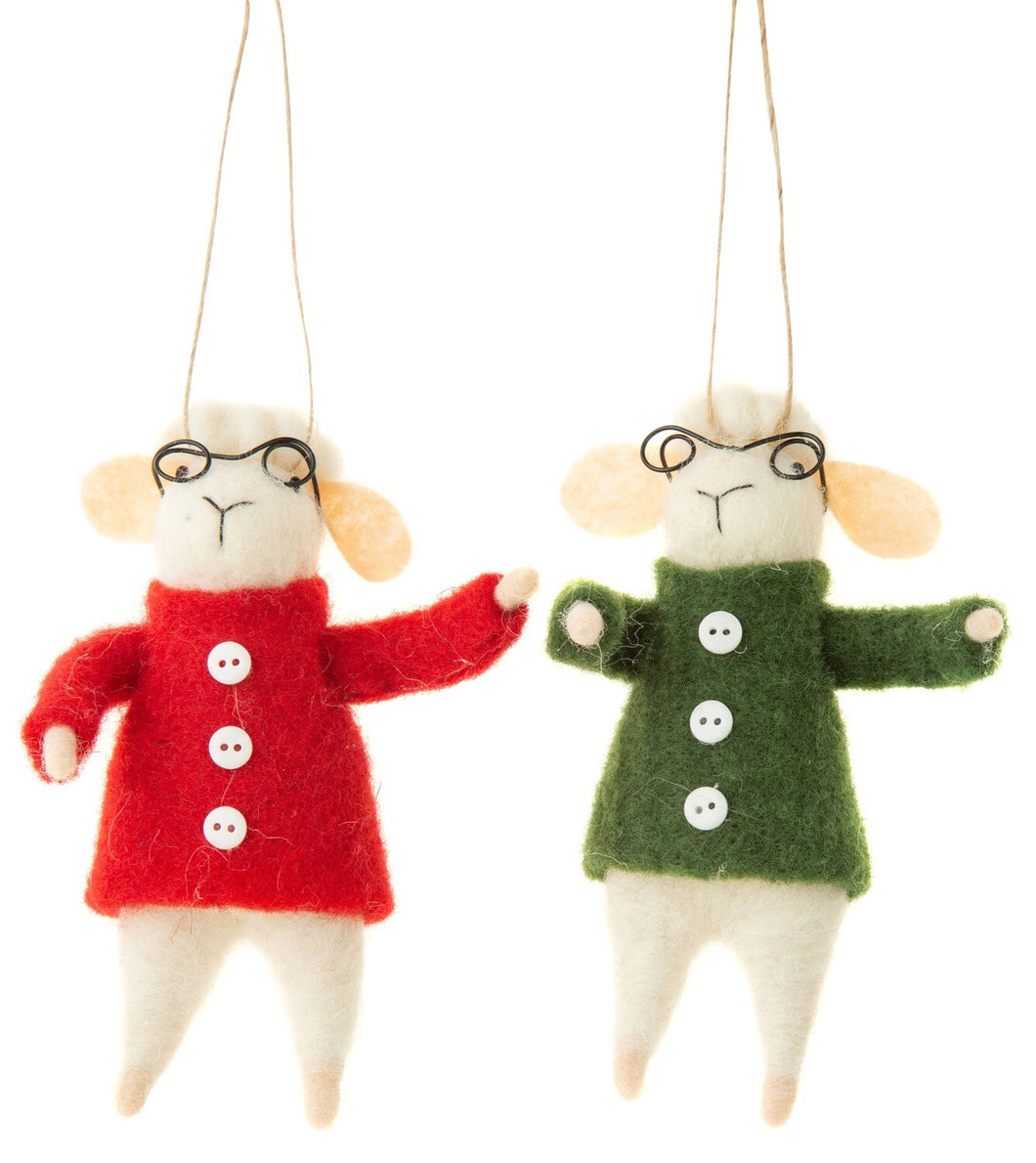 Felt Sheep Ornament - Glasses And Felt Coats