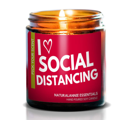 I LOVE SOCIAL DISTANCING: Sugared Lemon Scented Soy Candle - Front & Company: Gift Store