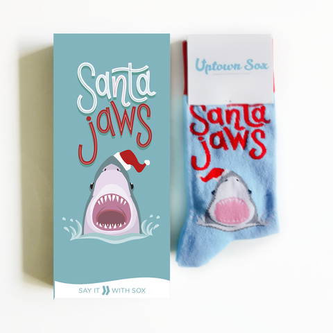 Santa Jaws Socks And Card