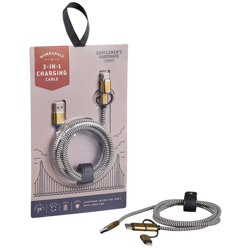 Gentlemen's Hardware 3-In-1 Charging Cable - Front & Company: Gift Store