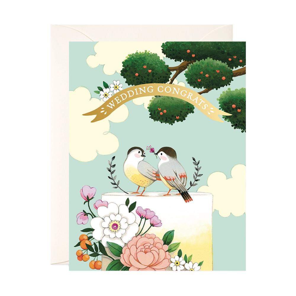 Birds on Cake Wedding Card