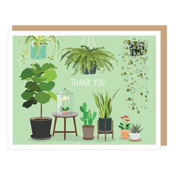 Potted Houseplants Thank You Card