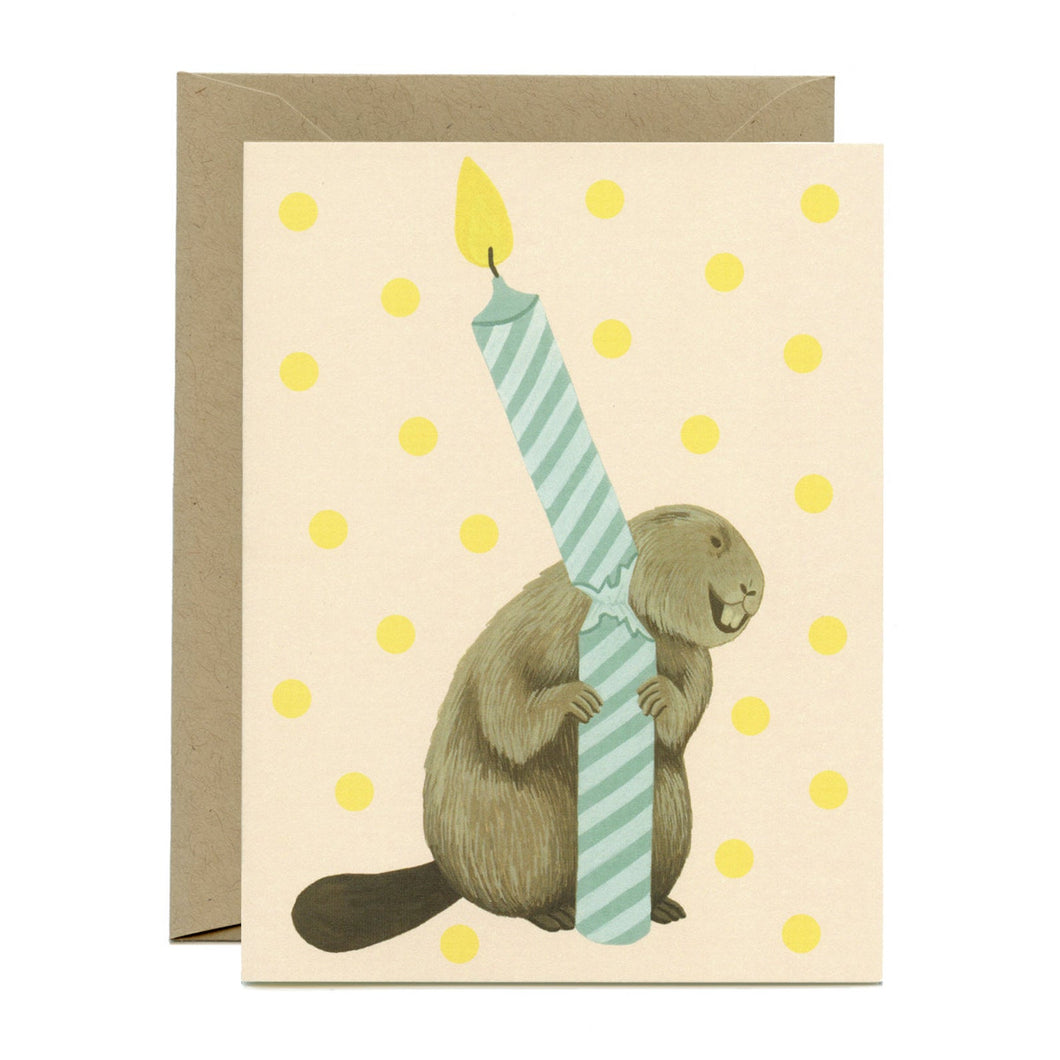 Beaver & Candle Birthday Card