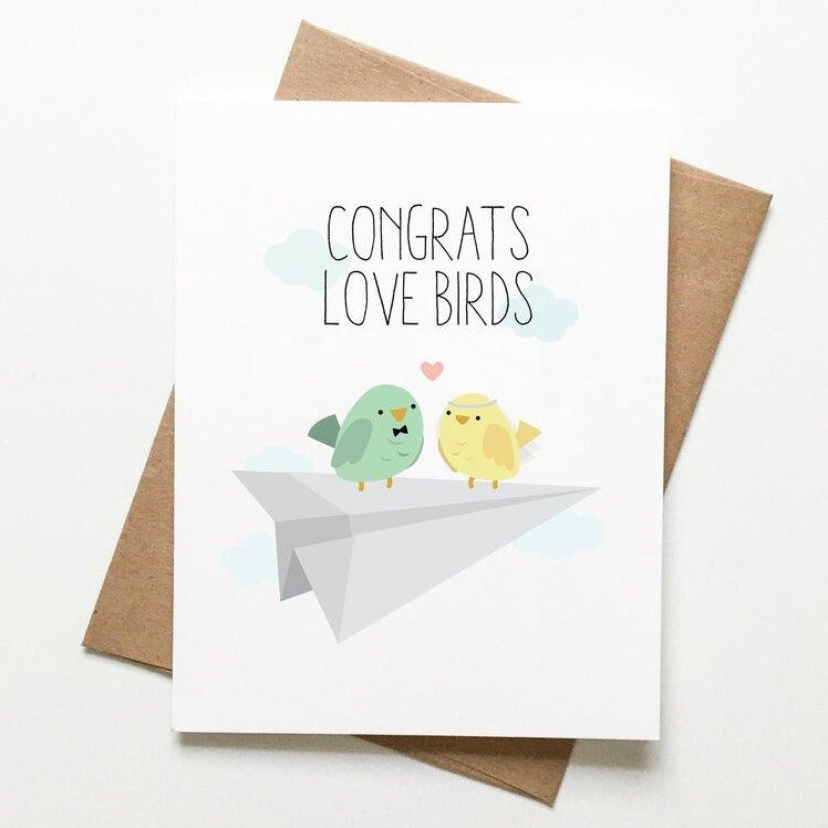 Love Birds Wedding Card