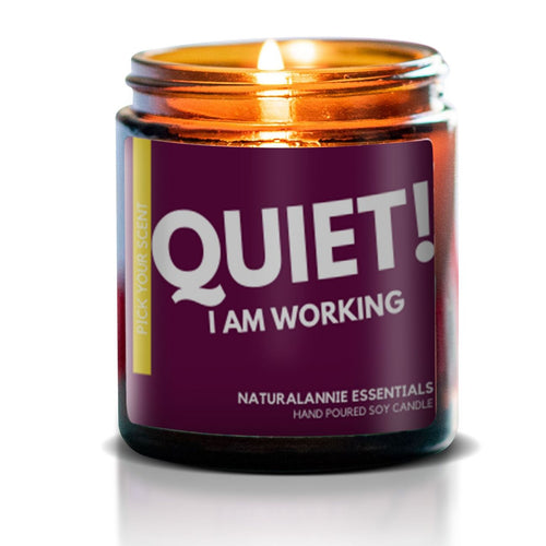QUIET! I AM WORKING: Sangria Scented Soy Candle - Front & Company: Gift Store