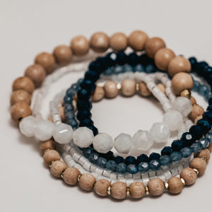 Avery || Moonstone, Blue Glass, and Rosewood classic set