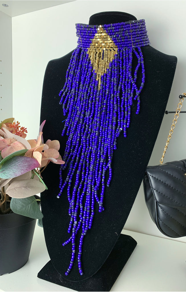 Blue Bearded Statement Necklace