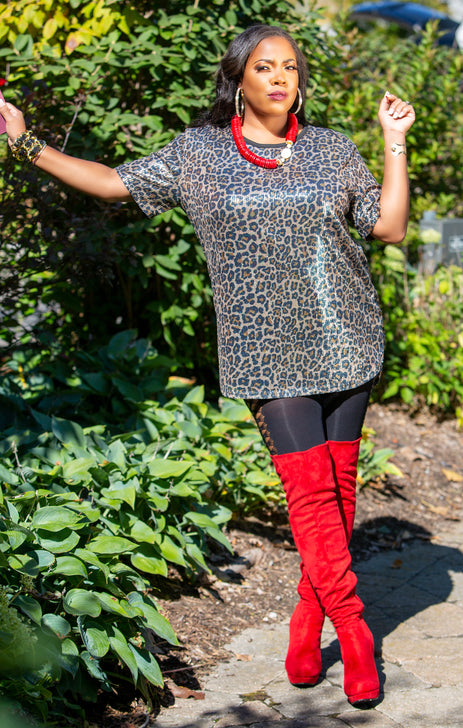 Sequin Leopard Over-sized Tunic