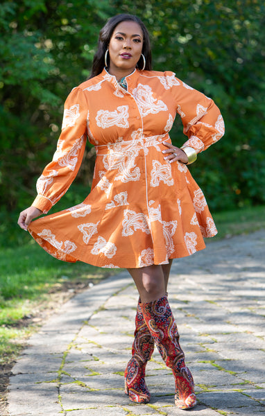 Rust Paisley Peplum Dress