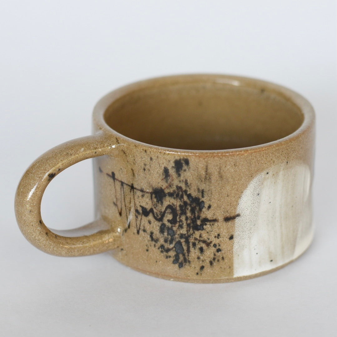 Mug // Abstract Short Espresso Size on Dark Clay