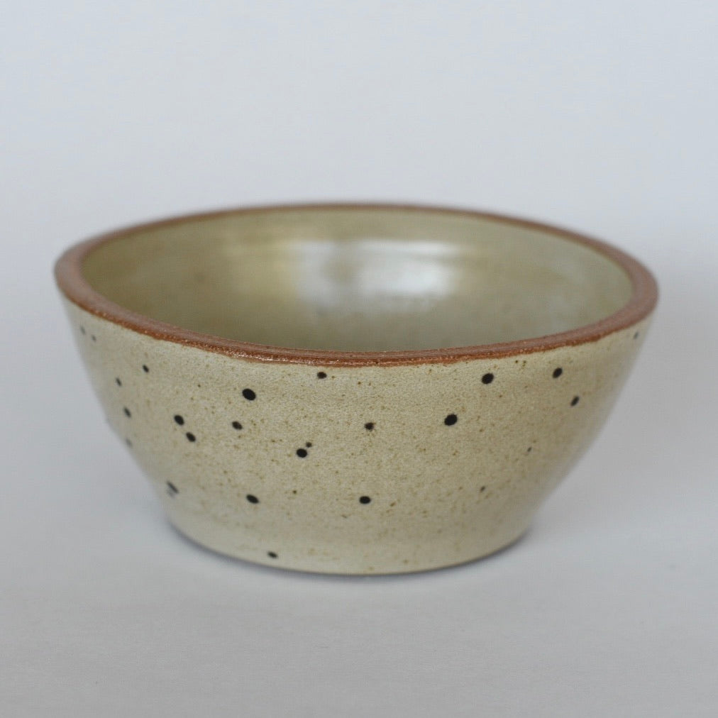 Small Bowl // Off White on Dark Clay with Black Dots and Gold Splatter