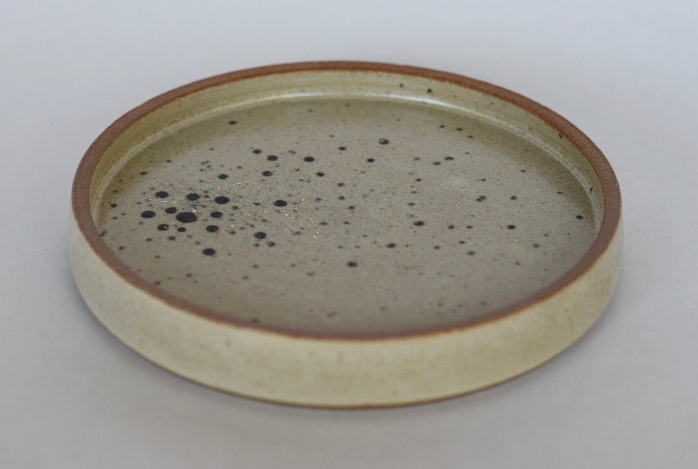 Round Tray // Off White with Black Dots and Gold Splatter