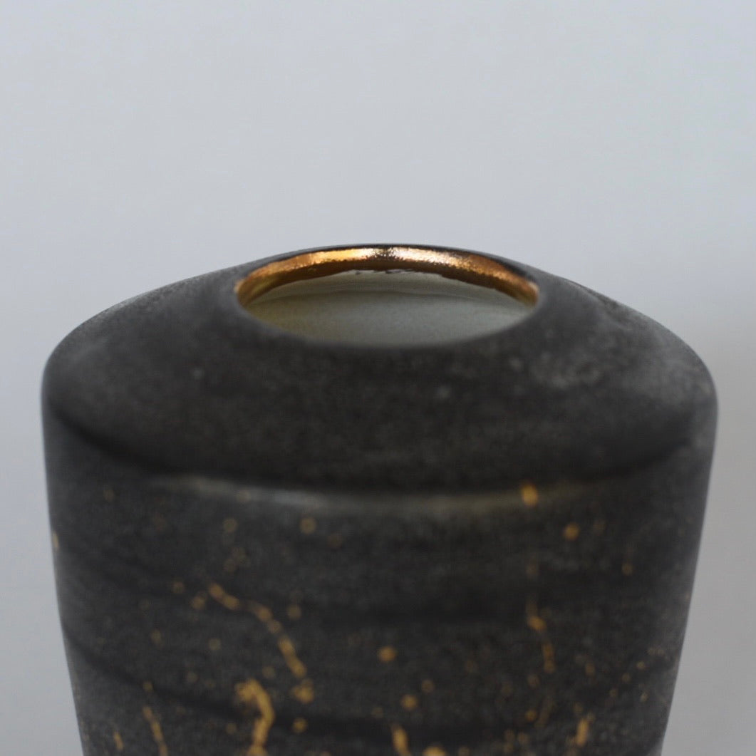 Vase // Angular Black with Gold Rim and Gold Splatters
