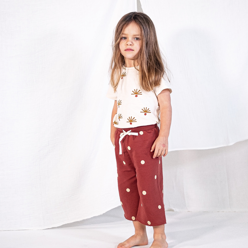 Pantalon large 'Burgundy dots'