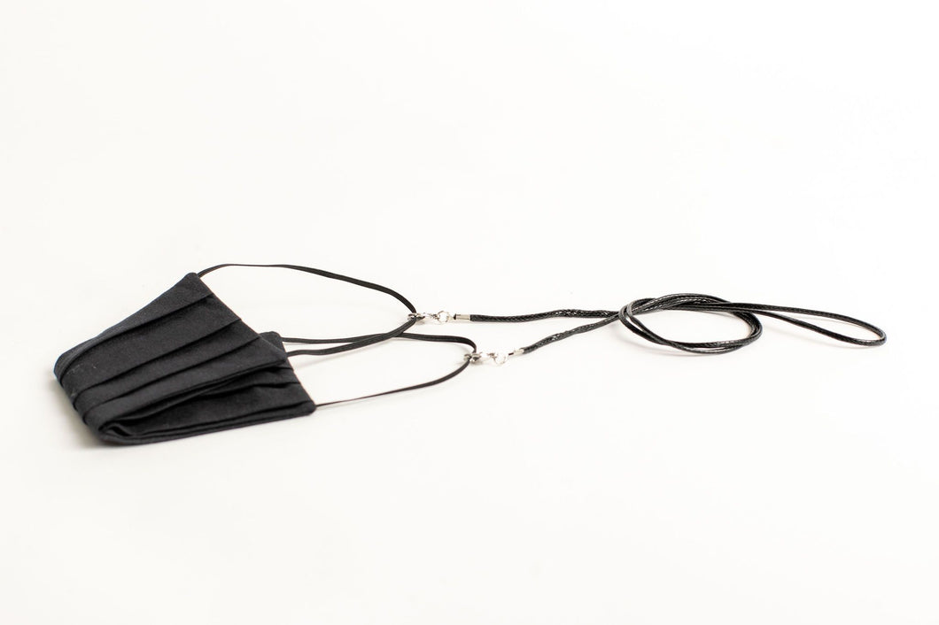 Men's Waxed Cord Mask/Glasses Chain - Black