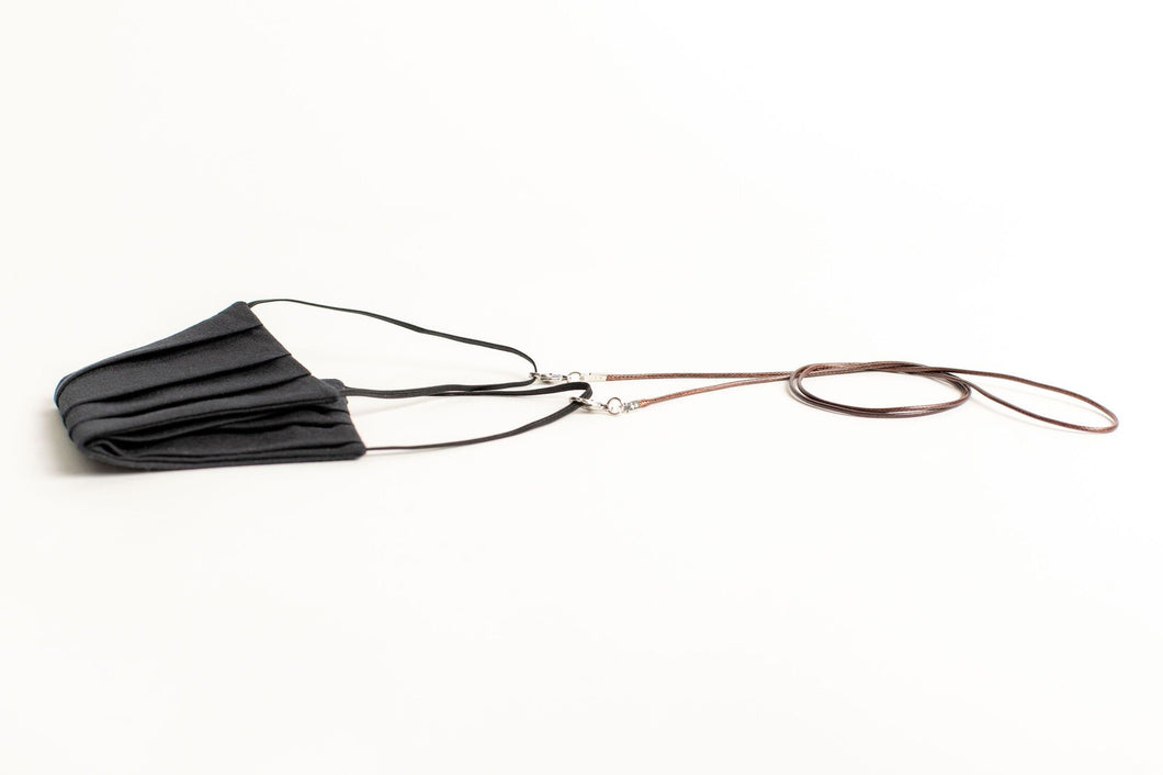 Men's Waxed Cord Mask/Glasses Chain - Dark Brown