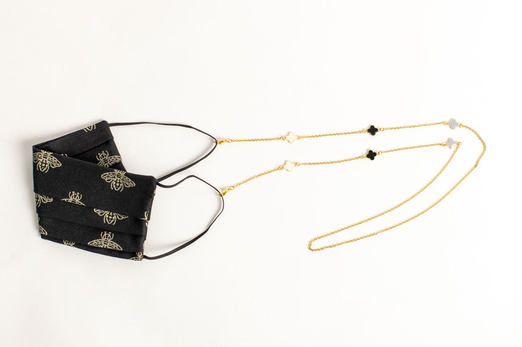 Enamel Clover Motif Mask/Glasses Chain - Gold