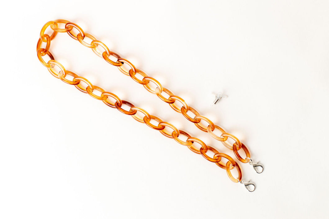 Oval Link Resin Mask/Glasses Chain - Amber