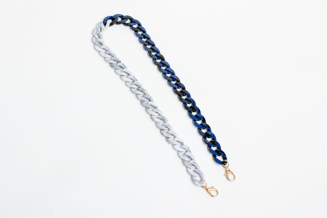 Two-Colour Resin Mask/Glasses Chain - Grey/Blue