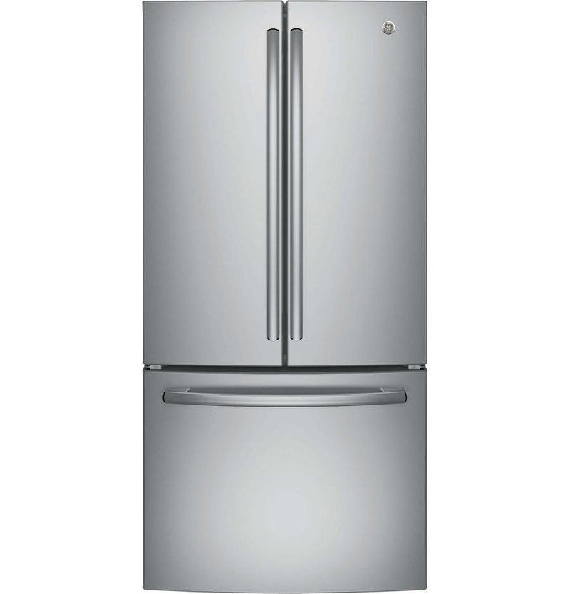 GE - 32.75 Inch 18.6 cu. ft French Door Refrigerator in Stainless - GWE19JSLSS