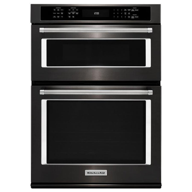 KitchenAid - 6.4 cu. ft Combination Wall Oven in Black Stainless Steel with PrintShield Finish - KOCE500EBS