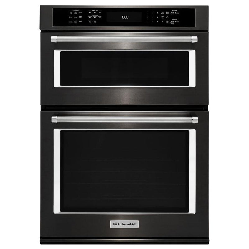 KitchenAid - 5.7 cu. ft Combination Wall Oven in Black Stainless - KOCE507EBS