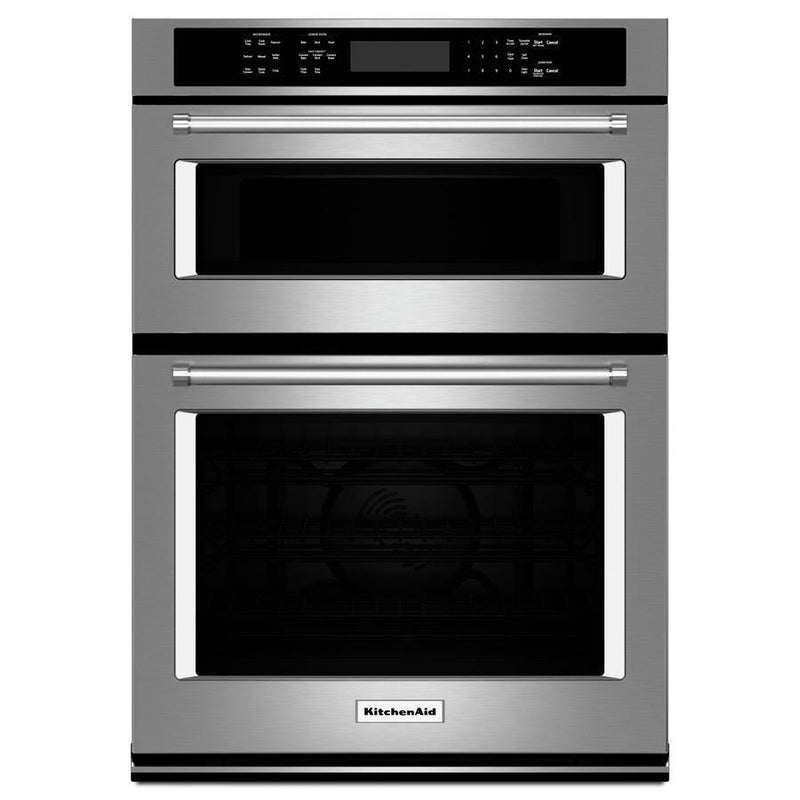 KitchenAid - 5.7 cu. ft Combination Wall Oven in Stainless - KOCE507ESS
