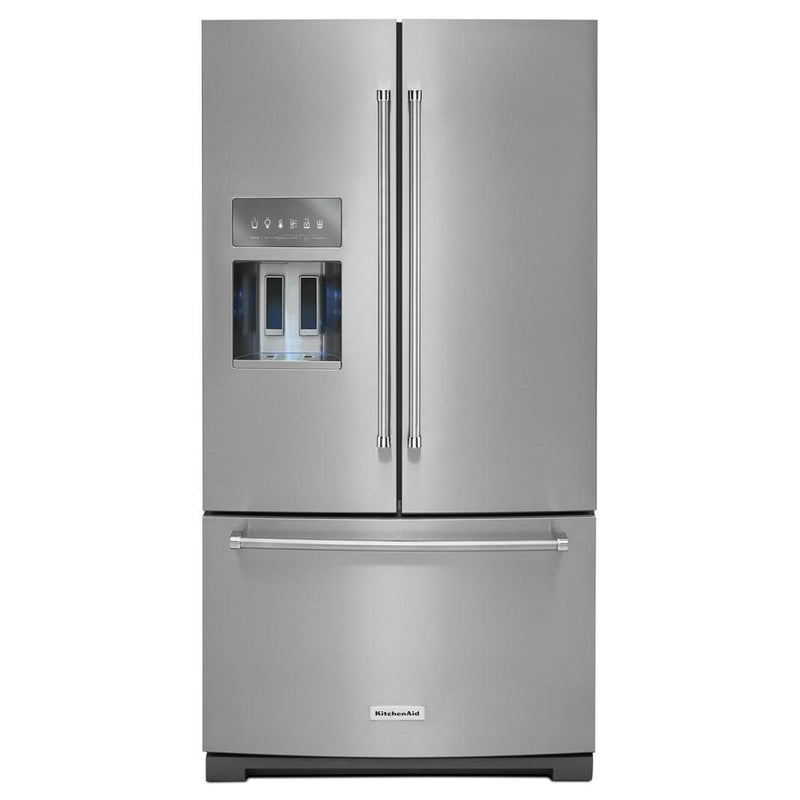 KitchenAid - 35.69 Inch 26.8 cu. ft French Door Refrigerator in Stainless - KRFF507HPS