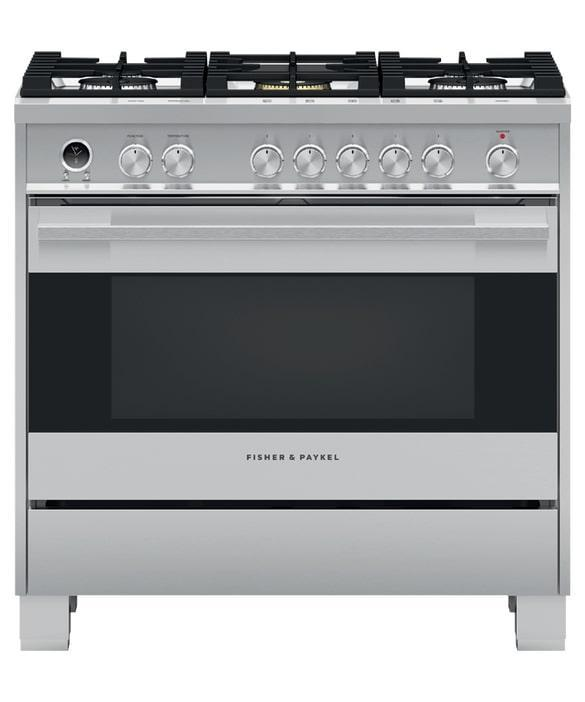 Fisher Paykel - 4.9 cu. ft  Dual Fuel Range in Stainless - OR36SDG6X1