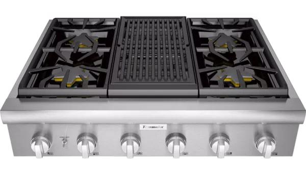 Thermador - 35.9375 inch wide Gas Cooktop in Stainless - PCG364WL