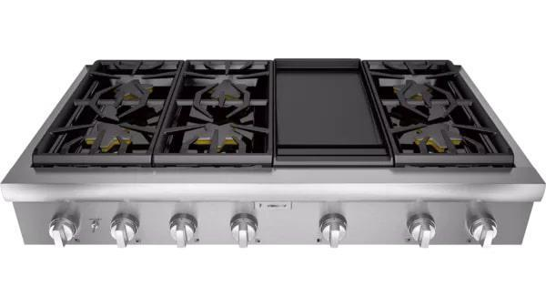 Thermador - 47.9375 inch wide Gas Cooktop in Stainless - PCG486WD