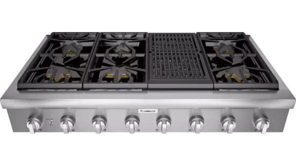 Thermador - 47.9375 inch wide Gas Cooktop in Stainless - PCG486WL