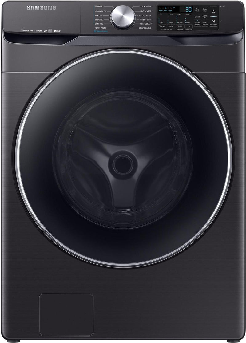 Samsung - 5.2 cu. Ft  Front Load Washer in Black Stainless - WF45R6300AV