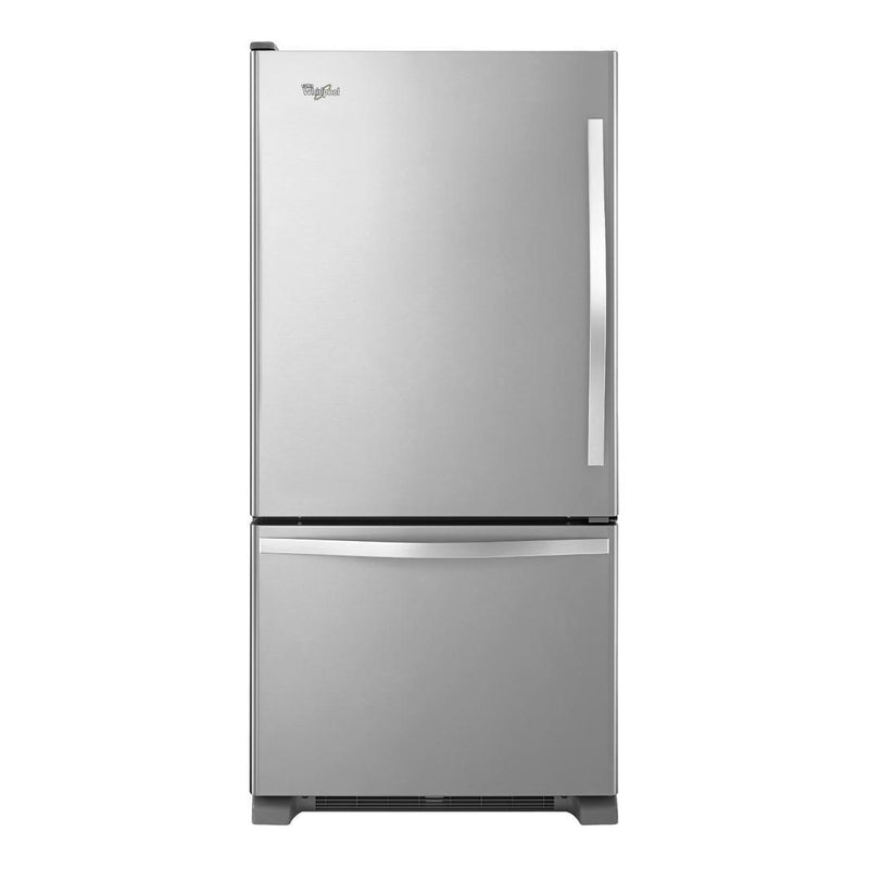 Whirlpool - 29.75 Inch 18.67 cu. ft Bottom Mount Refrigerator in Stainless - WRB329LFBM