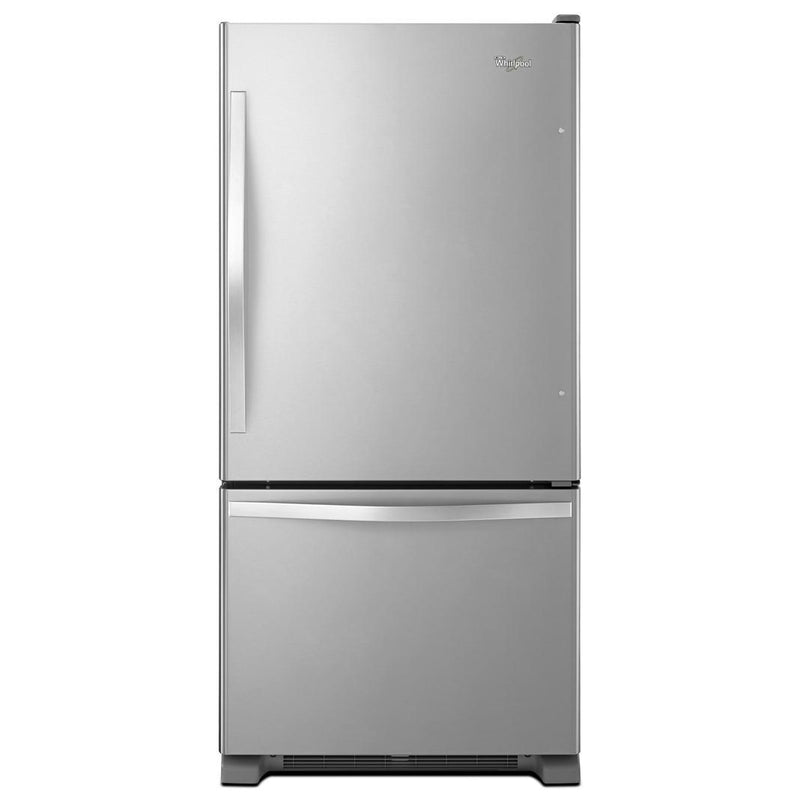Whirlpool - 29.75 Inch 18.67 cu. ft Bottom Mount Refrigerator in Stainless - WRB329RFBM