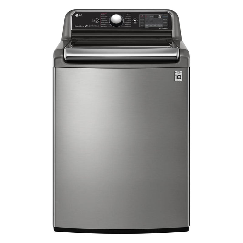 LG - 6 cu. Ft  Top Load Washer in Stainless - WT7850HVA