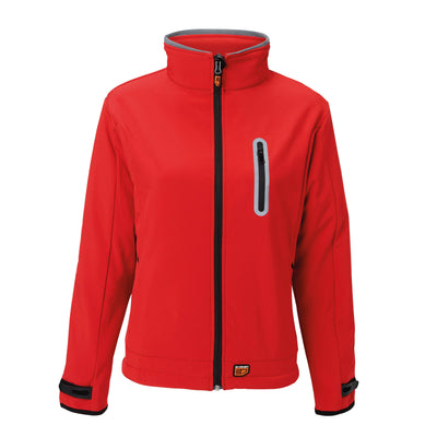 30seven Heated Women's Softshell Jacket  — Slim Fit Winter Shell Jacket with Rechargeable Battery — Wind-Resistant and Water-Repellent Coat - Red - 30seven