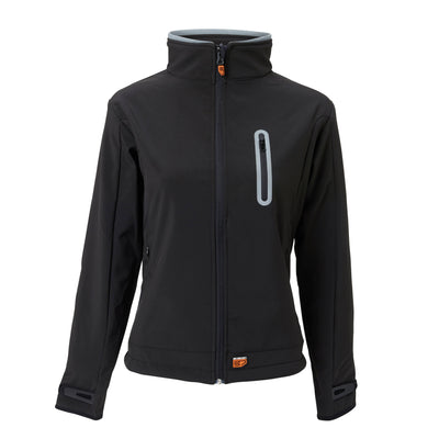 30seven Heated Women's Softshell Jacket  — Slim Fit Winter Shell Jacket with Rechargeable Battery — Wind-Resistant and Water-Repellent Coat - Black - 30seven