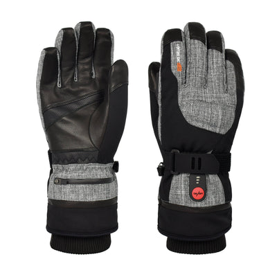 30seven Unisex Heated Gloves — Extra-Warm Gloves with Primaloft Insulation — Waterproof, Windproof Winter Gloves with Rechargeable Battery for Winter Sports - Grey - 30seven