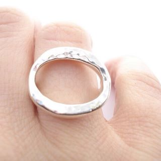 Large Hammered Haley Ring
