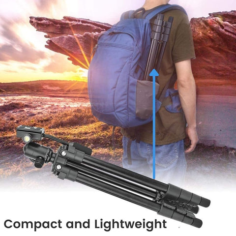 Man carrying compact mobile phone tripod in backpack