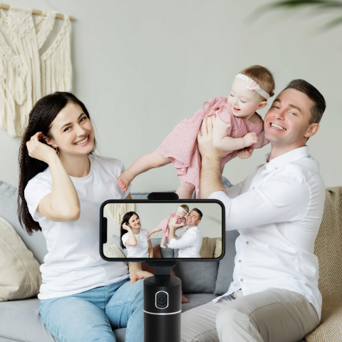 family photo with 360 rotating auto tracking mobile phone holder