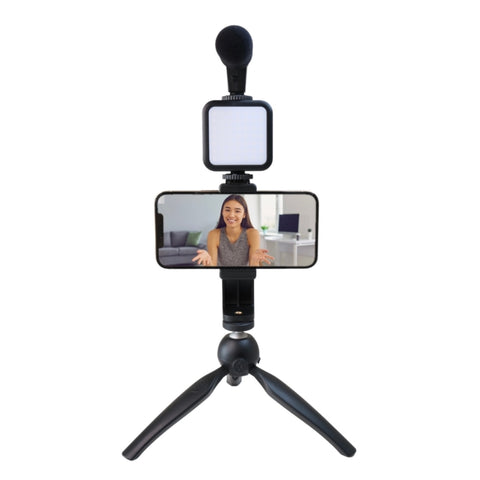 Vlogging starter kit with woman going live