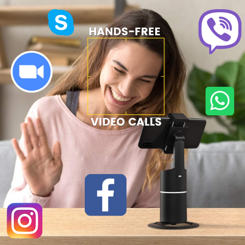 360 rotating auto follow phone holder with mobile phones apps woman hands free call