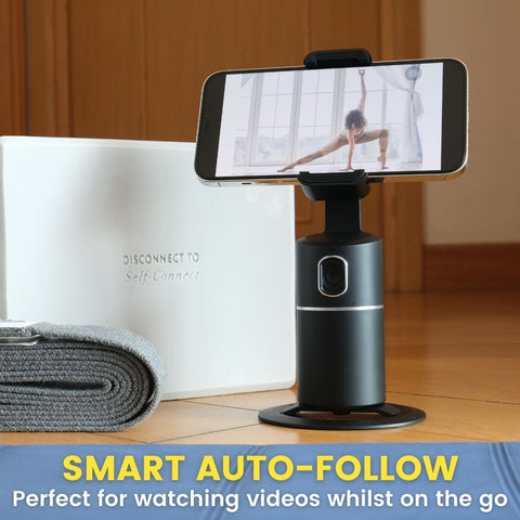 Yoga and 360 phone holder that follows you for workouts