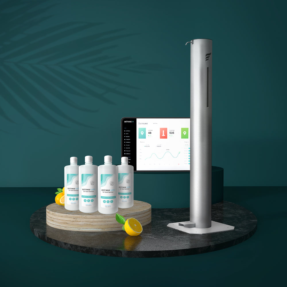Astreea+ combines the world's best pedal sanitizer dispenser, premium gel sanitizer, and automation software into one convenient monthly description.
