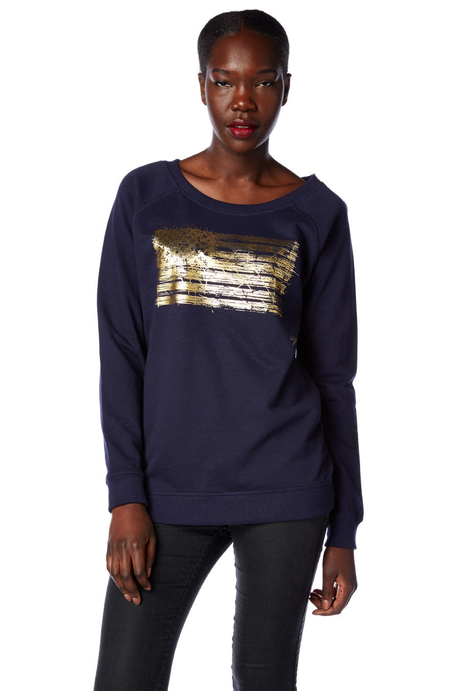 American Flag Scooped Neck Sweatshirt